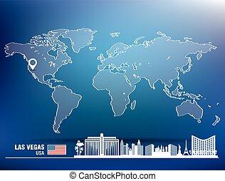 landkarte, skyline, las vegas, stift, las