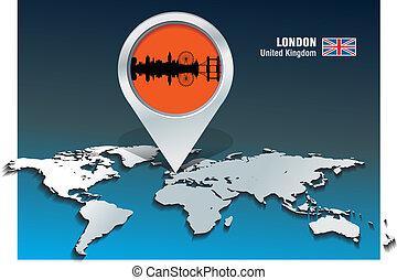 landkarte, skyline, london, stift