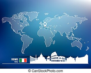 landkarte, skyline, rom, stift
