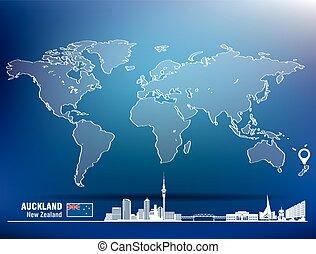 landkarte, skyline, stift, auckland