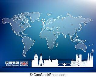 landkarte, skyline, stift, edinburgh