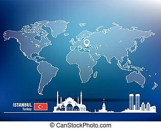 landkarte, skyline, stift, istanbul