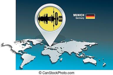 landkarte, skyline, stift, münchen