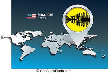landkarte, skyline, stift, singapur