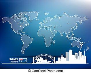 landkarte, skyline, stift, sydney