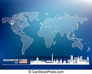 landkarte, skyline, washington, stift