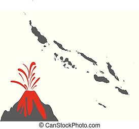 landkarte, solomon inseln, vulkan