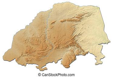 landkarte, -, (south, africa), limpopo, 3d-rendering, erleichterung