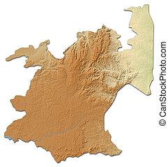 landkarte, -, (south, africa), mpumalanga, 3d-rendering, erleichterung