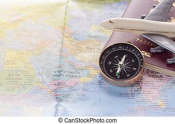 landkarte, spielflugzeug, auf, hintergrund., reisepaß, schließen, welt, weißes
