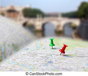 landkarte, spielraum- bestimmungsort, schieben, verwischen, nadeln