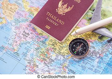 landkarte, spielzeug, auf, hintergrund., reisepaß, schließen, welt, weißes, motorflugzeug