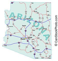 landkarte, staat, arizona, zwischenstaatlich