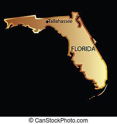 landkarte, staat, florida, gold