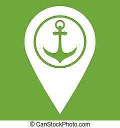 landkarte, symbol, schiffsanker, grün, meer, zeiger, hafen, ikone