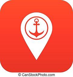 landkarte, symbol, schiffsanker, meer, digital, zeiger, hafen, rotes , ikone