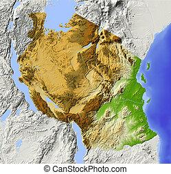 landkarte, tansania, erleichterung, beschattet