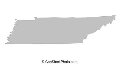landkarte, tennessee grau