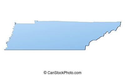 landkarte, tennessee(usa)