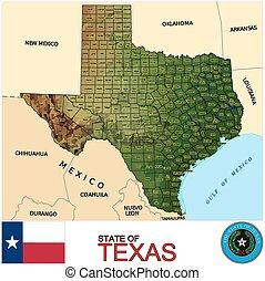 landkarte, texas, grafschaften