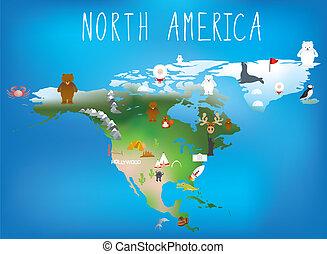 landkarte, tiere, childrens, fa, karikaturen, gebrauchend, nordamerika