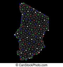 landkarte, tschad, leiche, licht, flecke, hell, masche