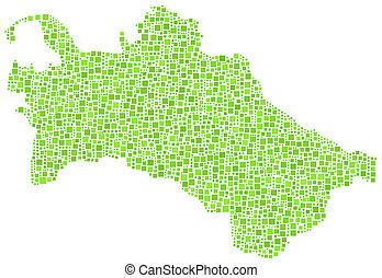 landkarte, -, turkmenistan, asia