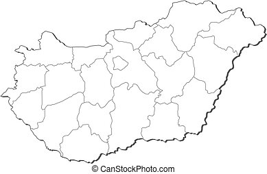landkarte, ungarn