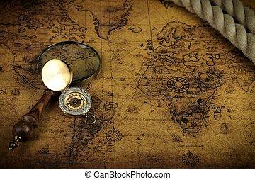 landkarte, uralt, lies, weinlese, -, glas, geschichten, abenteuer, hintergrund, kompaß, welt, vergrößern