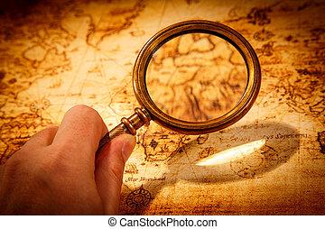landkarte, uralt, lies, weinlese, glas, welt, vergrößern