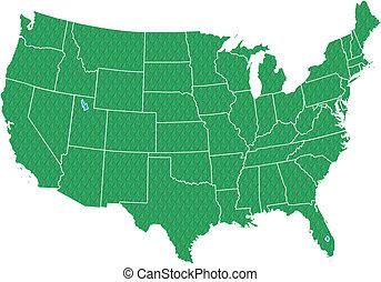 landkarte, usa, grün