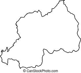 landkarte, vektor, abbildung, rwanda, schwarz, kurven, hintergrund, weißes, kontur