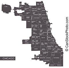 landkarte, vektor, bezirk, chicago