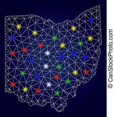 landkarte, vektor, leiche, licht, staat, flecke, hell, masche, ohio