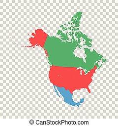 landkarte, vektor, nordamerika