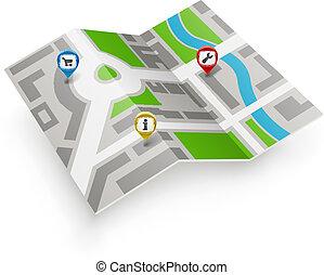 landkarte, vektor, pointers., farbe papier, ikone