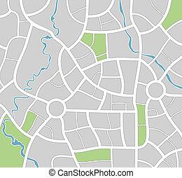 landkarte, vektor, stadt