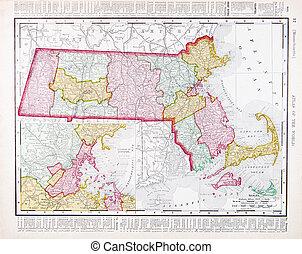 landkarte, vereint, farbe, weinlese, massachusetts, staaten