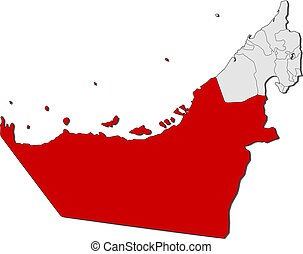landkarte, vereint, hervorgehoben, emirate, dhabi, abu,...