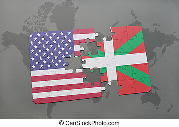 landkarte, vereint, land, puzzel, staaten, fahne,...
