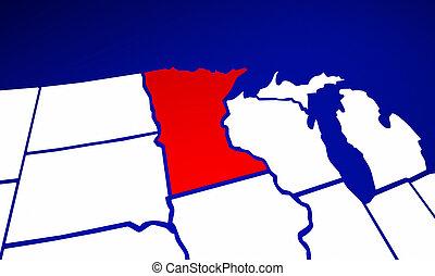 landkarte, vereint, mn, minnesota, amerika, staaten, staat,...