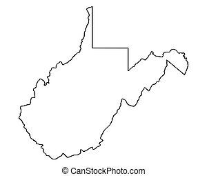 landkarte, virginia, westen