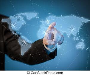 landkarte, virtuell, hand, berühren, welt, mann