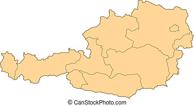 landkarte, von, österreich