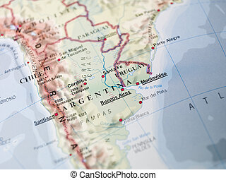 landkarte, von, argentinien, und, uruguay