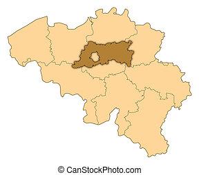 landkarte, von, belgien, flämisch, brabant, hervorgehoben