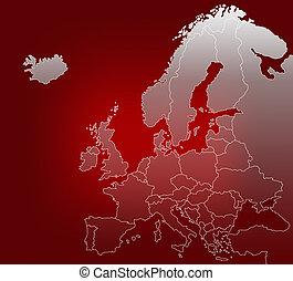 landkarte, von, europa