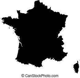 landkarte, von, frankreich
