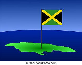 landkarte, von, jamaika, mit, fahne