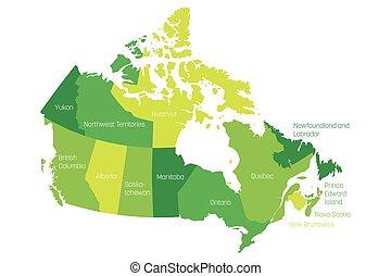 landkarte, von, kanada, geteilt, in, 10, provinzen, und, 3, territories., administrativ, gebiete, von, canada., grüne karte, mit, labels., vektor, abbildung